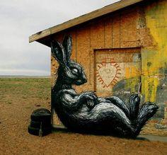 ROA - rabbit - urban art - street art - graffiti