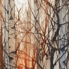 Chrissy Norman a printmaker with a passion for Trees. Collagraph, Tree Artwork, Abstract Landscape, Abstract Trees, Art And Illustration, Illustrations, Mondrian, Art Plastique, Art Sketchbook