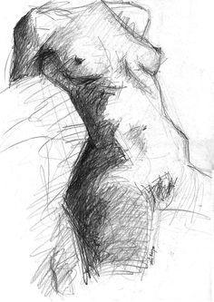 Naked torso (life drawing) - Graphite on paper - 32 x 43,8 cm. ©1988 Txema Muñoz