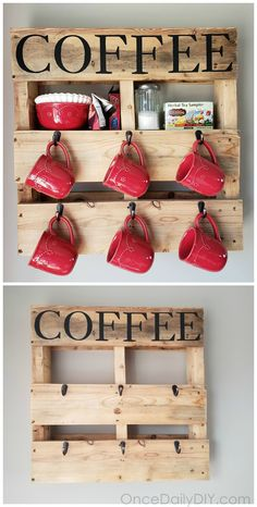DIY Wood pallet coffee cup holder...how to make one yourself! Coffee station idea for the kitchen. mugs