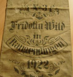 Antique GERMAN grain sack, Linen, Handwoven, Original Printed, Unwashed/ Original State