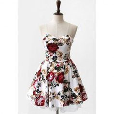 $16.75 Retro Style Floral Print Off-The-Shoulder See-through Straps Cotton Dress For Women