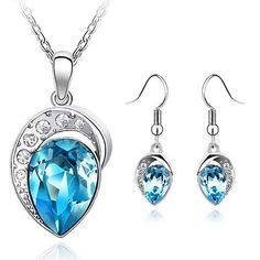 Fashion accessories wedding jewelery sets for women silver color big crystal necklace pendant earring Jewelry sets of african