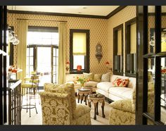 dream sitting room by Alessandra Branca - love this room for sitting room/refreshment center with barstools on left