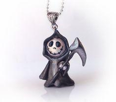 Cute grim reaper polymer clay pendant by UraniaArt on Etsy