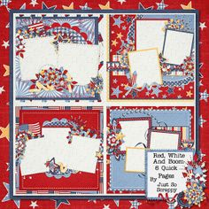 Red White and Boom Digital Scrapbook Kit 12x12 by JssScrapBoutique, $2.99