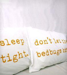 """Sleep Tight, Don't Let the Bedbugs Bite"" Pillowcases - Mustard Yellow    Urban Bird & Co."