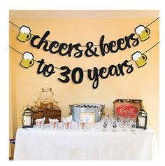 Cheers and Beers Banner Birthday Party Banner Beer Bachelorette Party Gold Glittery Cheers & Beers Beer Party Supplies Beer Theme - Geburtstag Dekoration Man 30th Birthday Ideas, Beer Birthday Party, Surprise 30th Birthday, 50th Birthday Party Decorations, 30th Party, Happy Birthday Parties, Birthday Cheers, Beer Party Decorations, Cheers Theme