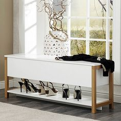 Northgate Flip-Top Storage Bench - Oak at STORE. Scandi-inspired white and solid wood flip top storage bench with 2 internal compartment. Shoe Cupboard, Shoe Storage Cabinet, Cupboard Design, Storage Shelves, Low Shelves, Storage Ideas, Hall Furniture, Space Saving Furniture, Living Room Furniture