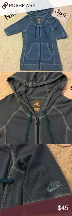 Nike Vintage Look hoodie Top In great condition. Has a nice fade in some places making it look vintage. No rips. Very comfortable. Has some stretch. Last picture shows a tiny spot it's barely noticeable. Measurements are above in pictures. Offers are welcome =) Nike Tops Sweatshirts & Hoodies