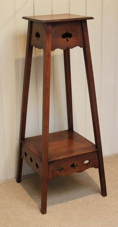 Solid Oak Arts And Crafts Plant Stand