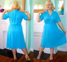 Vintage Kleid 70er Jahre Sekretär Bright Blue von PsychedelicPinup
