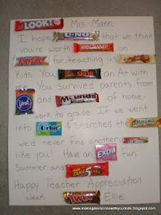 Candy poster for teacher appreciation week. Kaleb is buying candy for this. Should be fun! Teacher Appreciation Week, Teacher Gifts, Employee Appreciation, Teacher Stuff, Appreciation Letter, Principal Appreciation, Teacher Presents, Teacher Cards, Student Teacher