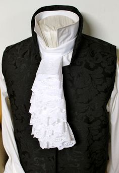 LONG Regency Historic Victorian White JABOT - Lace Ascot Cravat Necktie Tie