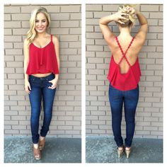 Red Low Back Crochet Crop Tank on Wanelo