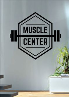Muscle Center Fitness Design Decal Sticker Wall Vinyl Art Home Room Decor