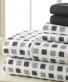 Black & Gray Palazzo Home Luxurious Sheet Set by Spirit Linen #zulily #zulilyfinds