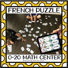 Teach french number recognition the FUN way with these hands-on puzzle cards. Students practice matching numerals, ten frames/twenty frames and written words together. Simply print (there are 7 pages), cut and laminate if desired. Post them your Communicative Competence, Math Wall, Language Immersion, Language Proficiency, File Folder Games, French Resources, Number Words, Number Matching, Velcro Dots