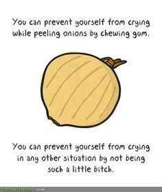You can prevent yourself from crying while peeling onions by chewing gum. You can prevent yourself from crying in any other situation by not being a little bitch. Crying Meme, Stop Crying, Image Meme, Funny Memes, Jokes, It's Funny, Funniest Memes, Funny Lady, That's Hilarious