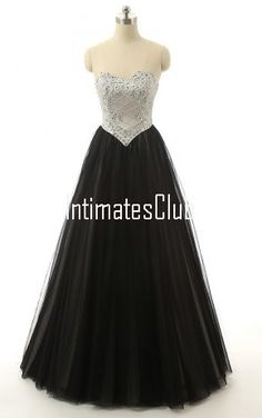 Ball Gown Sweetheart Tulle Floor Length Beading Sequins Black Long Prom Dress