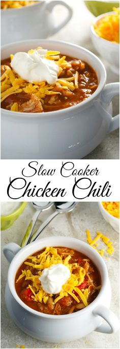 Slow Cooker Chicken Chili is the perfect weeknight meal. It's an easy recipe, healthy and delicious! Recipe at stuckonsweet.com