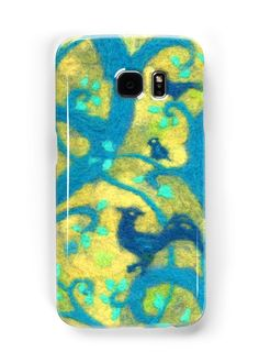 """""""Paradise garden, wool painting, blue birds, magic forest, fiber art, decorative"""" Samsung Galaxy Cases & Skins by clipsocallipso 