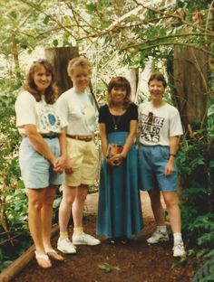 l-r  Lori F, Carol N, Jana H (my ex roommate first semester @ Tabor college) and i @ the Wichita Zoo in 1996.  Jana happens to work (or did then) at the zoo.  don't remember now what she did there.  Old college buddies all of us!