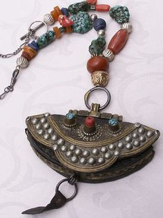 antique Money Purse from Tibet - necklace-real amber-turquoise-lapis