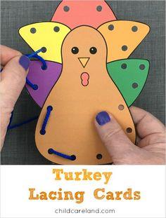 Turkey lacing cards for fine motor development.