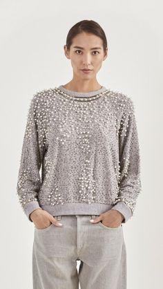Sea NY Beaded Sweatshirt in Grey | The Dreslyn