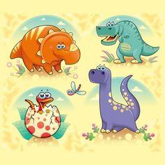 Colección de de dinosaurios a color