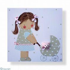 Cuadro infantil personalizado: Niña con un cochecito de bebé (ref. 12028-04)