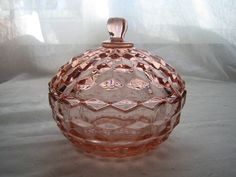 1929 Jeannette Glass Co. Pink Depression Glass Candy Dish With lid