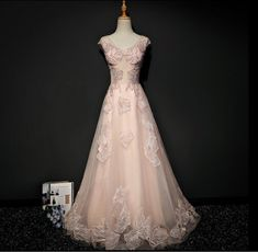 Blush Pink Cap Sleeve V Neckline Lace Long Evening Prom Dresses, Popular 2018 Party Prom Dresses, Custom Long Prom Dresses, Cheap Formal Prom Dresses