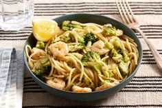 Creamy Shrimp Spaghetti with Broccoli & Meyer Lemon. Visit https://www.blueapron.com/ to receive the ingredients.