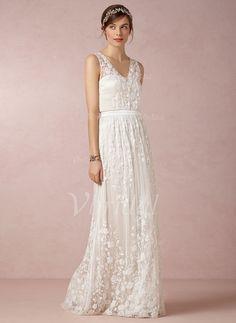 Wedding Dresses - $162.91 - A-Line/Princess V-neck Floor-Length Chiffon Lace Wedding Dress (0025055882)