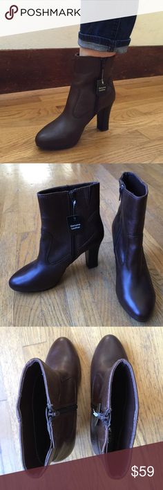 "NWT🚨a.n.a. Brown Genuine Leather Ankle Boots NWT🚨a.n.a. (A New Approach) Brown Genuine Leather Ankle Boots.   Inside zipper.  3-1/2"" rear heels & 1/2"" front hidden platform heels. Elasticized slits for comfort and fit.  NWT a.n.a Shoes Ankle Boots & Booties"