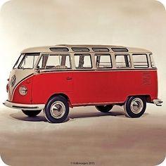 Volkswagen Original Red Camper Van Single Coaster Official New Campervan Gifts, Split Screen, Vw Classic, Transporter, Volkswagen Bus, Camper Van, Coasters, The Originals, Red