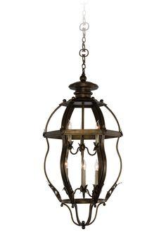 Piece | Mykonos Hanging Lantern | Woodland Wood Lamps, Hanging Lanterns, Lantern Pendant, Mykonos, Glass Panels, Candelabra, Bronze Finish, Craftsman, Woodland