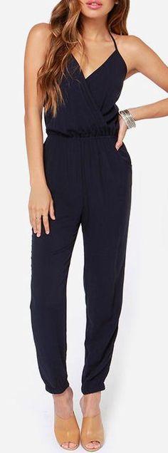 Navy Jumpsuit ♥ I can't get enough jumpsuits!!! #jumpsuits #girleegirl