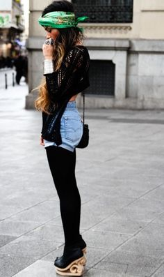 Denim shorts paired with tights and cute head band. Not down with the shoes. But cute look!