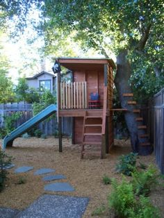 fort and slide next to tree - modern landscape by Keith Willig Landscape Services, Inc.
