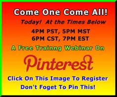Free Webinar Training On How to Use Pinterest for personal and For your Business! #pinterest