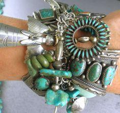 RARE Angel Green Turquoise 262G Charm Bracelet Navajo Zuni Hopi Artisans | eBay