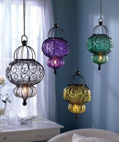 Glass Pendants with LED Tea Lights  $17.95 each - 4 colors - great for outdoor party lights