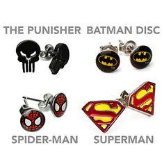 Superhero Earrings: Hulk, Captain America, Punisher, Batman, SHIELD, Spider-man, Superman