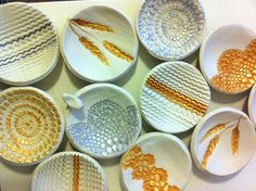 DIY Clay jewelry bowls - perhaps use swatches to get a knit design?