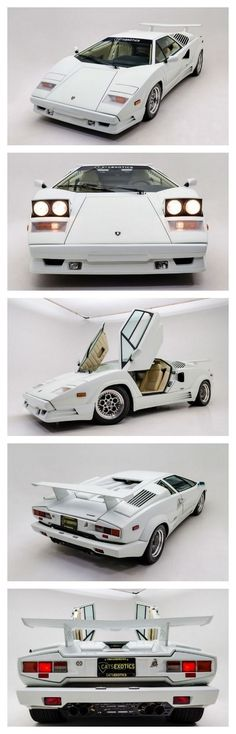 1989 Lamborghini Countach 25th Anniversary Edition finished in Bianco White over Bone Leather interior. #lamborghiniclassiccars