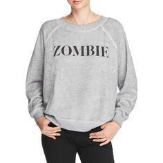 Wildfox Zombie Sweatshirt ($120) ❤ liked on Polyvore featuring tops, hoodies, sweatshirts, heather burnout, burnout sweatshirt, wildfox tops, burn out tops, wildfox and wildfox sweatshirt