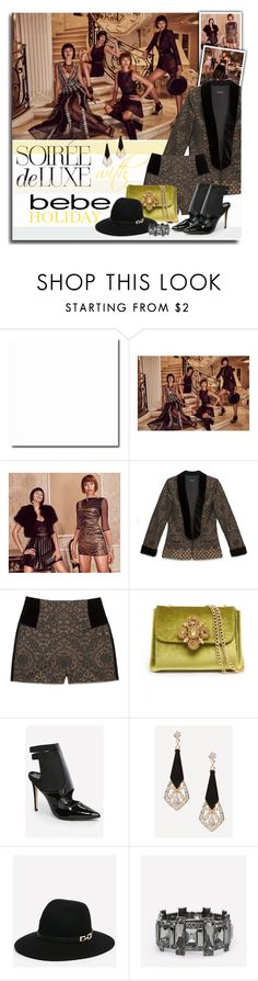 """Soirée de Luxe with bebe Holiday: Contest Entry"" by chixdejesus ❤ liked on Polyvore featuring Bebe"
